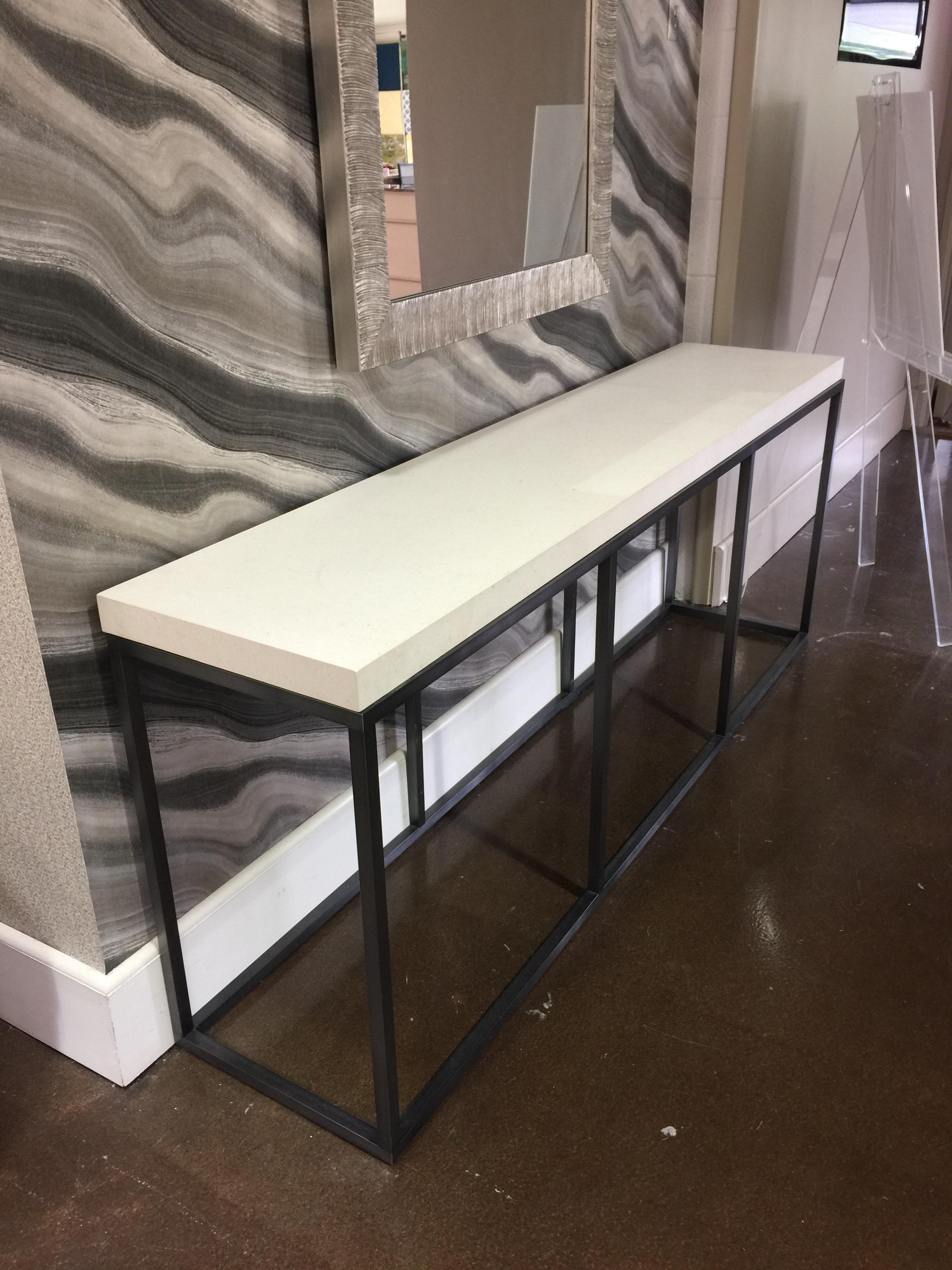 Early 21st Century Limestone Topped And Ebonized Axel Console Table For  Sale   Image 5 Of