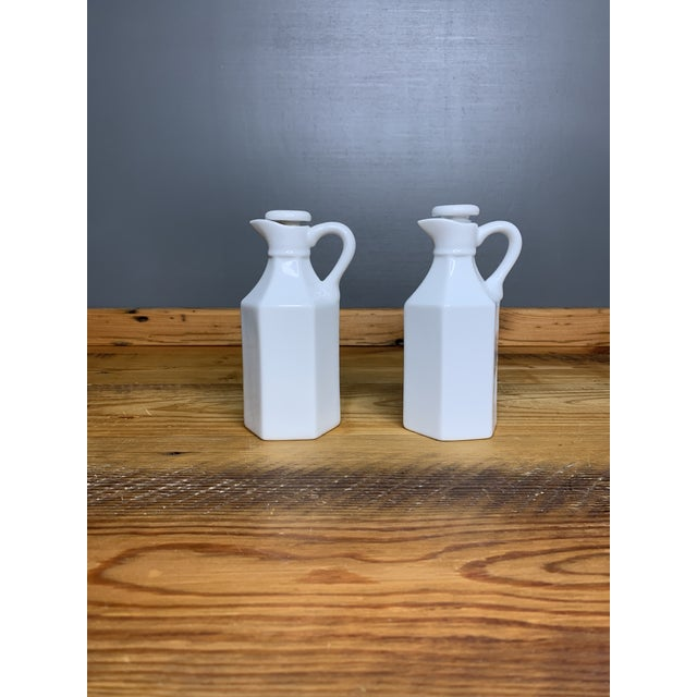 Vintage White Condiment Jars - a Pair For Sale - Image 10 of 11