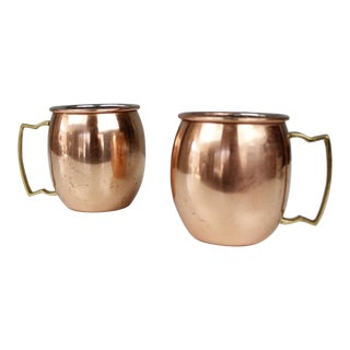 Set of 2 Vintage Copper & Brass Moscow Mule Mugs Cups For Sale