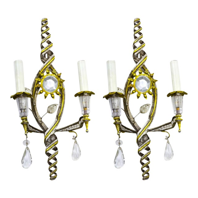 Banci Firenze Superb Pair of Gold and Silver Leaf Pearly Sconces For Sale