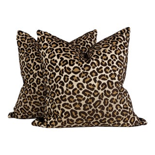 Black and Gold Velvet Leopard Pillows, a Pair For Sale