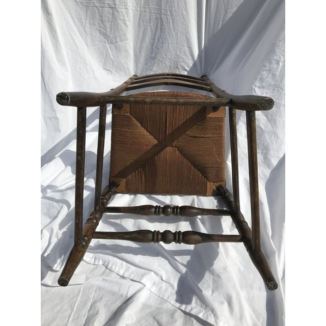 Rush Antique Ladder Back Rush Seat Chair For Sale - Image 7 of 9