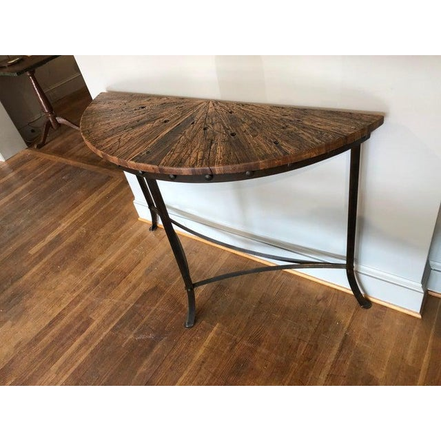 Modern Wrought Iron and Repurposed Oak Console Table For Sale In Washington DC - Image 6 of 7