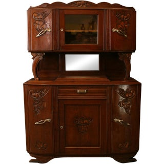 1920 Art Deco Buffet French Carved Oak Grapes For Sale
