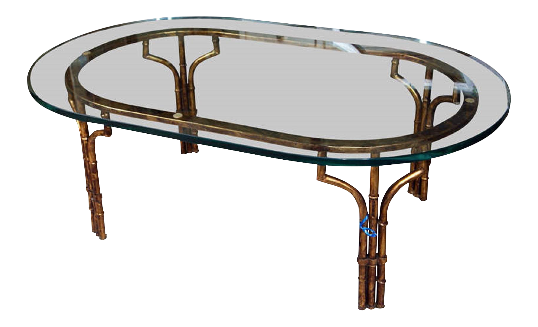 Gilt Faux Bamboo Coffee Table With Glass Top   Image 1 Of 7