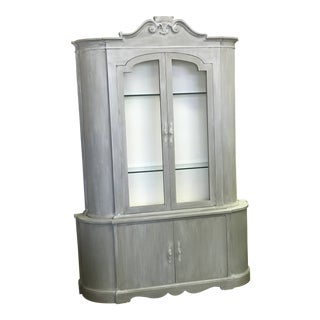 Whitewashed Gray Display Cabinet With Curved Sides For Sale