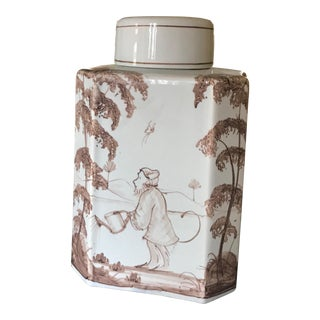 Porcelain Monkey Tea Caddy