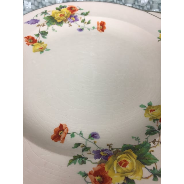 Blue Shabby Chic Mismatched Floral China Plates- Set of 4 For Sale - Image 8 of 13