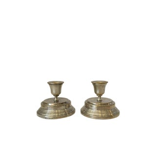 1960s Hollywood Regency Silver Candle Holders - a Pair