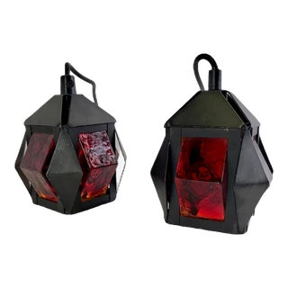 1960s Petite Modern Thick Red Glass Pendants In the Manner of Erik Höglund, Sweden - a Pair For Sale