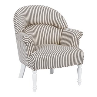 Casa Cosima Napoleon III Chair in Black and Ivory Ticking For Sale