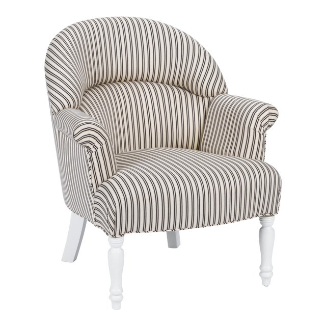 Image of Casa Cosima Napoleon III Chair in Black and Ivory Ticking