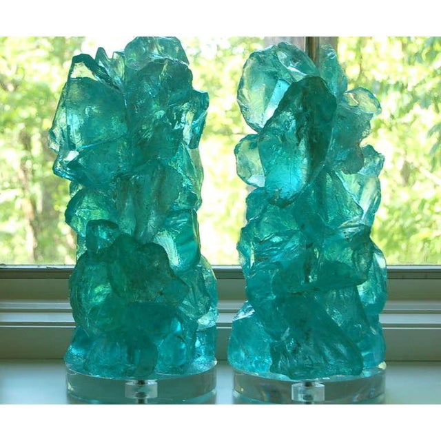 Contemporary Modern Glass Rock Table Lamps by Swank Lighting Aqua For Sale - Image 3 of 9