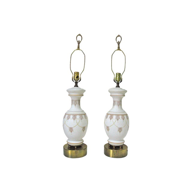 Decorated Opaline Lamps- A Pair For Sale