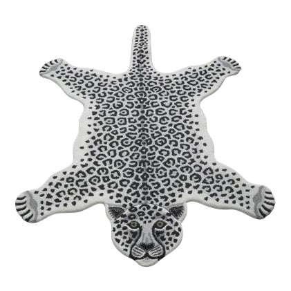 Modern Hand Tufted Leopard Skin Shaped Wool Rug - 4′6″ × 6′ - Image 1 of 5
