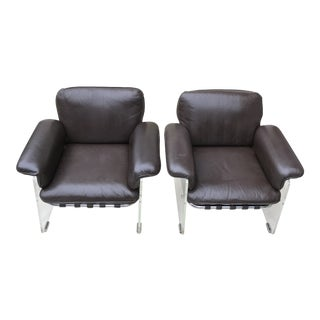 Vintage Pace Argenta Lucite and Leather Chairs - a Pair For Sale