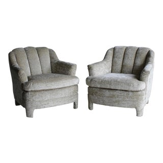 1960s Vintage Channel Back Lounge Chairs, a Pair For Sale
