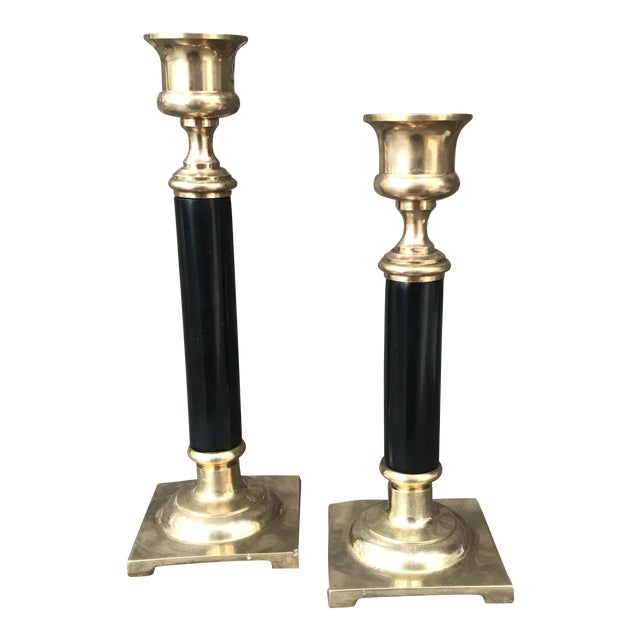 Image of Vintage Brass and Black Candlesticks - a Pair