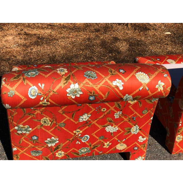 Orange 1960s Vintage Custom Upholstery Scroll Back Chinoiserie Slipper Chairs- A Pair For Sale - Image 8 of 11