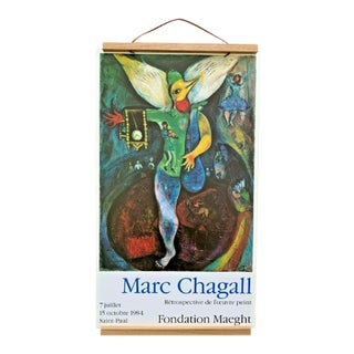 Original 1984 Marc Chagall Lithograph Exhibition Poster From European Show For Sale