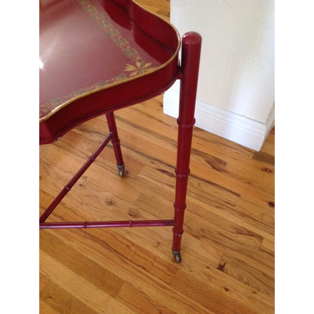 Red Superb Chinoiserie Style Tole Tray Table on Original Stand For Sale - Image 8 of 13