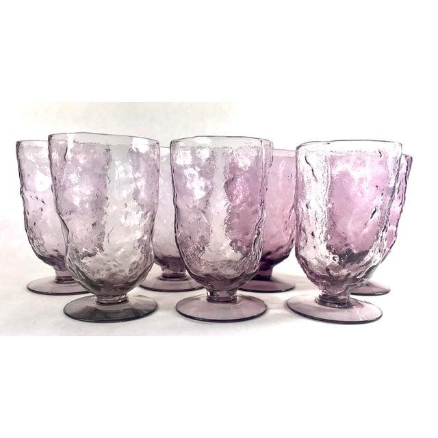Vintage Mid-Century Seneca Driftwood Amethyst Crinkle Footed Glasses - Set of 7 For Sale - Image 4 of 5