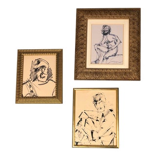 Gallery Wall Collection 3 Original Ink Study's Male Portraits For Sale