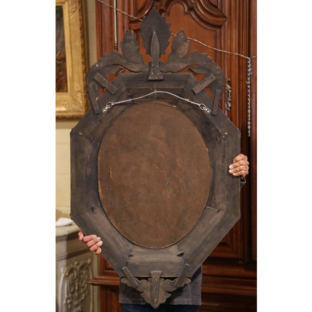 Silver Early 20th Century Italian Venetian Octagonal Mirror With Painted Floral Etching For Sale - Image 8 of 9