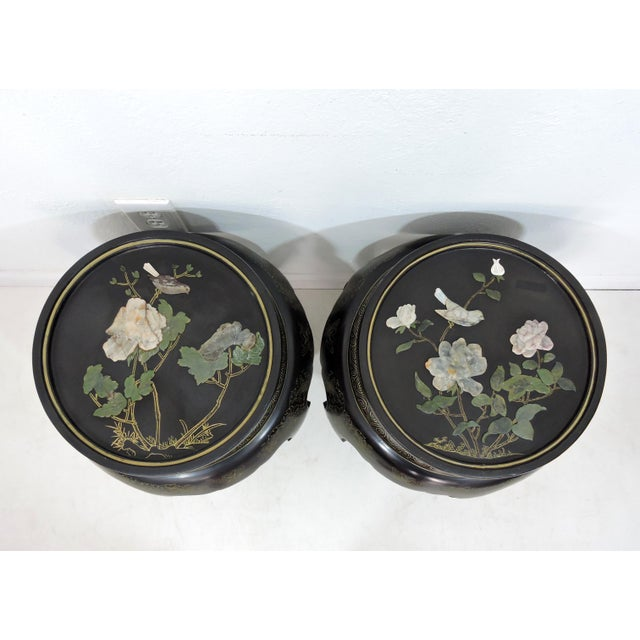 Mid 20th Century Vintage Chinese Mother of Pearl & Soapstone Black Lacquer Garden Stools/Side Tables - a Pair For Sale - Image 5 of 9