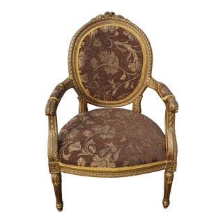 Antique French Provincial Louis XVI Rococo Gold Mauve Accent Bergere Chair For Sale