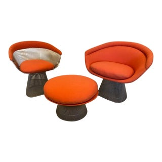 Warren Platner Group for Knoll Circa 1970's Chairs & Ottoman - Set of 3 For Sale
