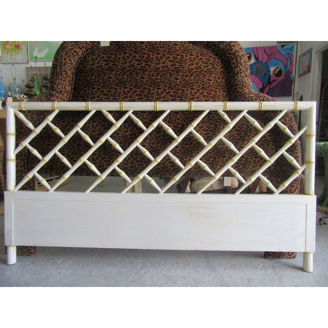 Vintage Faux Bamboo Chippendale Headboard - Image 2 of 7