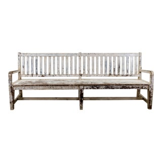 1900s Vintage Country Estate Painted White Bench For Sale