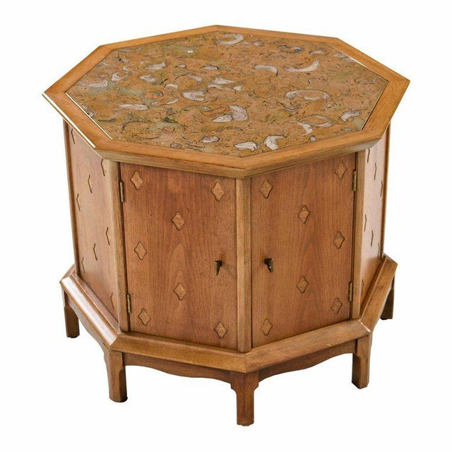 Horizon by Thomasville Decorative Abstract Stone Top Octagon Commode Cabinet For Sale In Tampa - Image 6 of 6