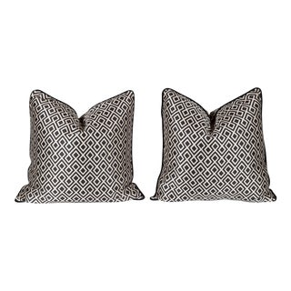 Black and Ivory Diamante Pillows, a Pair For Sale