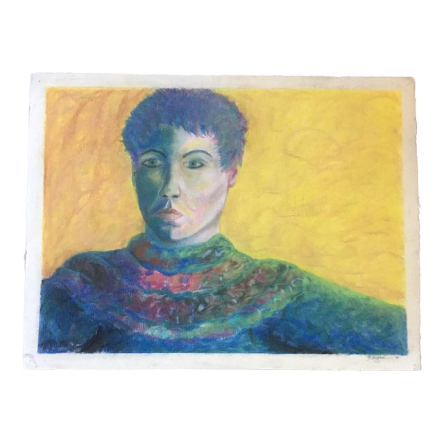 Vintage Original Pastel Female Portrait Campbell For Sale