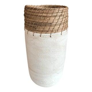 Hand Thrown White Ceramic Vase For Sale