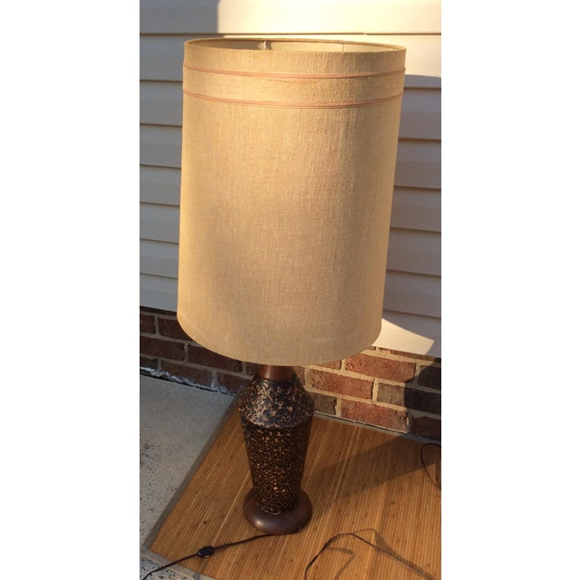 Mid-Century Textured Ceramic Table Lamps - A Pair - Image 4 of 7