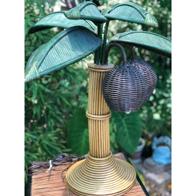 Mario Lopez Torres Style Reed Bamboo Rattan Palm Tree Table Lamp For Sale In West Palm - Image 6 of 8