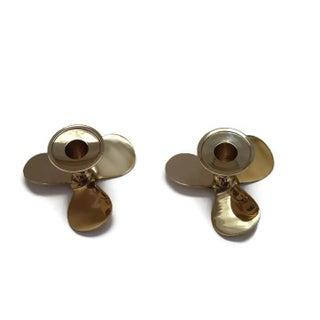 Brass Propeller Candleholders - Pair