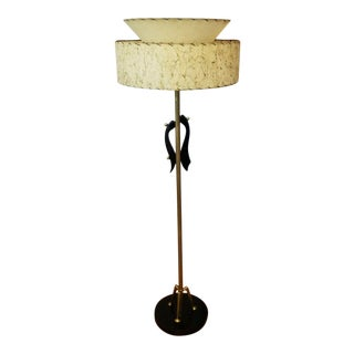 Atomic Floor Lamp With Two Tier Fiberglass Shade by Majestic For Sale