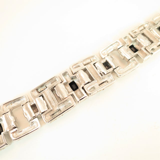 Ciner Art Deco-Style Geometric Link Rhodium Bracelet 1950s For Sale - Image 10 of 13