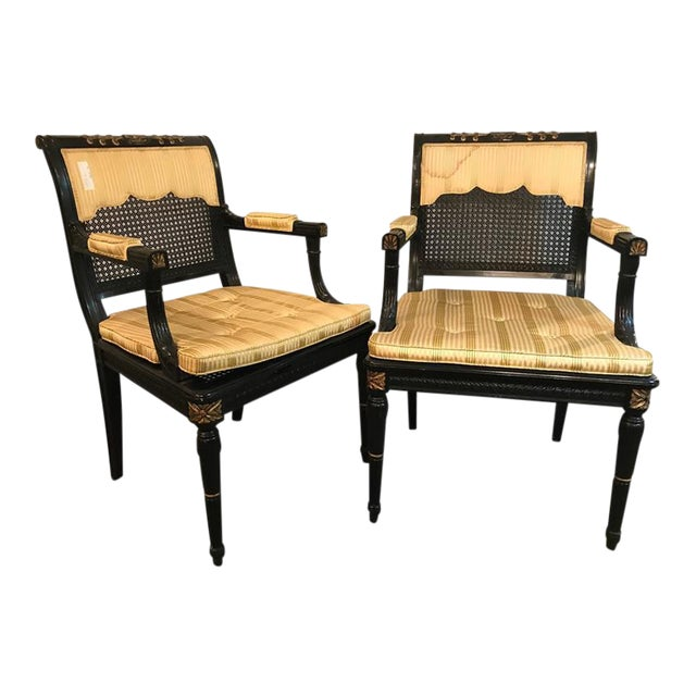 Hollywood Regency Ebony & Gilt Gold Arm Chairs Attributed Maison Jansen - A Pair For Sale - Image 10 of 10