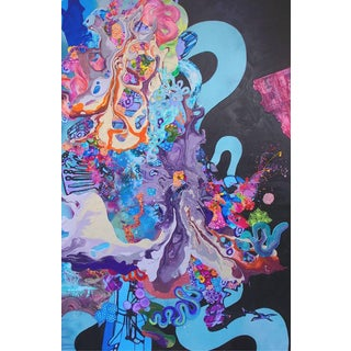 """Kimber Berry, """"A Dance With Dragons"""" Abstract Mixed Media Painting, Blue 2014 For Sale"""