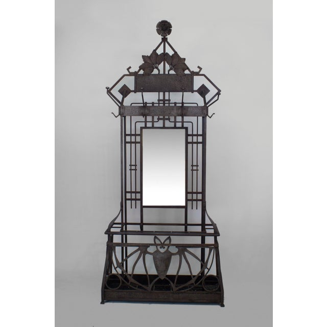 French Art Deco (Possibly Austrian) Iron Hatrack/umbrella Stand For Sale - Image 4 of 4