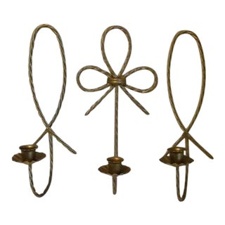 Mid-Century Modern Gold Rope Candle Sconces - Set of 3 For Sale