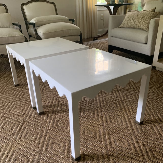 White Lacquered Grass Cloth Moroccan Style Side Tables- a Pair For Sale - Image 11 of 12