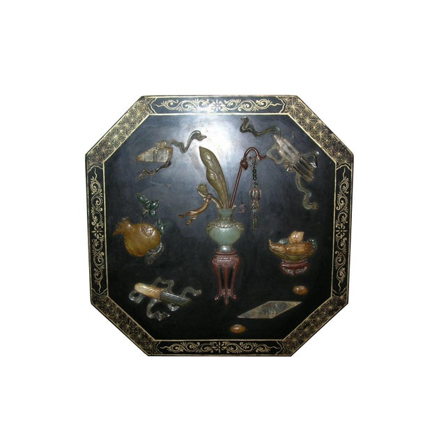 Up for sale is a finely decorated large black lacquered hexagonal presentation box/holding box, Peng He, the cover is...