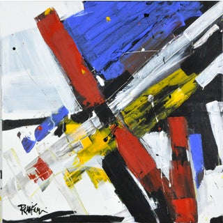 """""""Multi Color Criss Cross"""" Contemporary Abstract Expressionist Acrylic Painting by Robbie Kemper For Sale"""