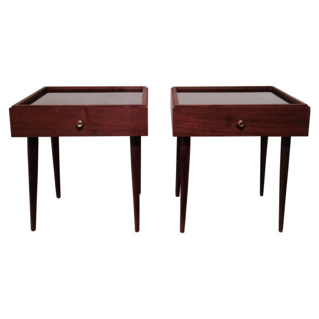 Mark Adam Mid-Century Walnut Folding Tables - Pair - Image 1 of 7